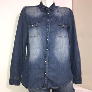 Red Tag Blue Washed Denim Cotton Button Down Shirt